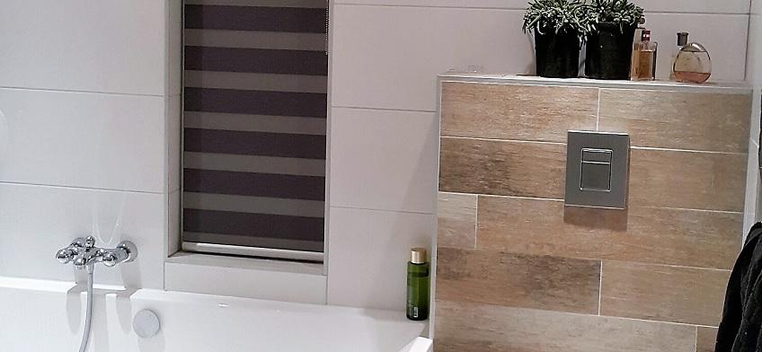 Duo rolgordijnen in de badkamer | INHUIS Plaza